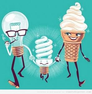 comic-gracioso-humor-grafico-bombilla-bajo-consumo-union-cono-helado-bombilla-antigua